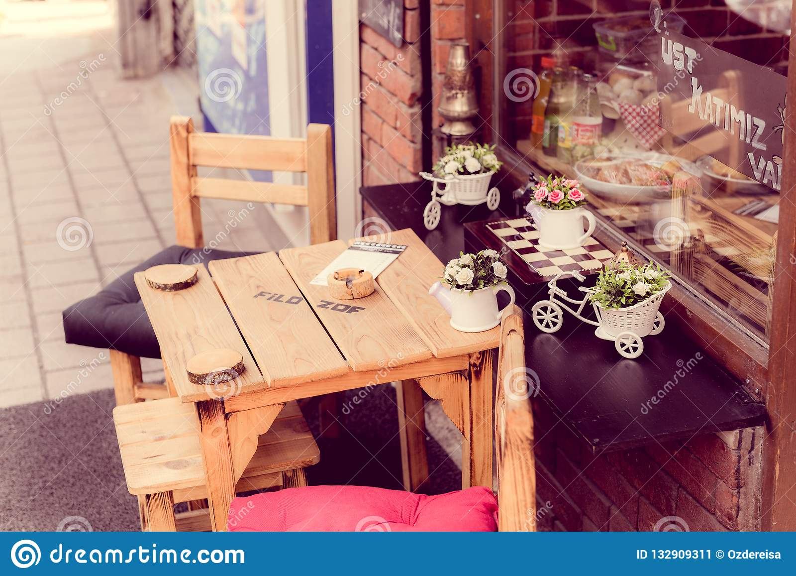 Retro Vintage View Of Pastel Coffee Shop Stock Image Image Of Design Cafe 132909311