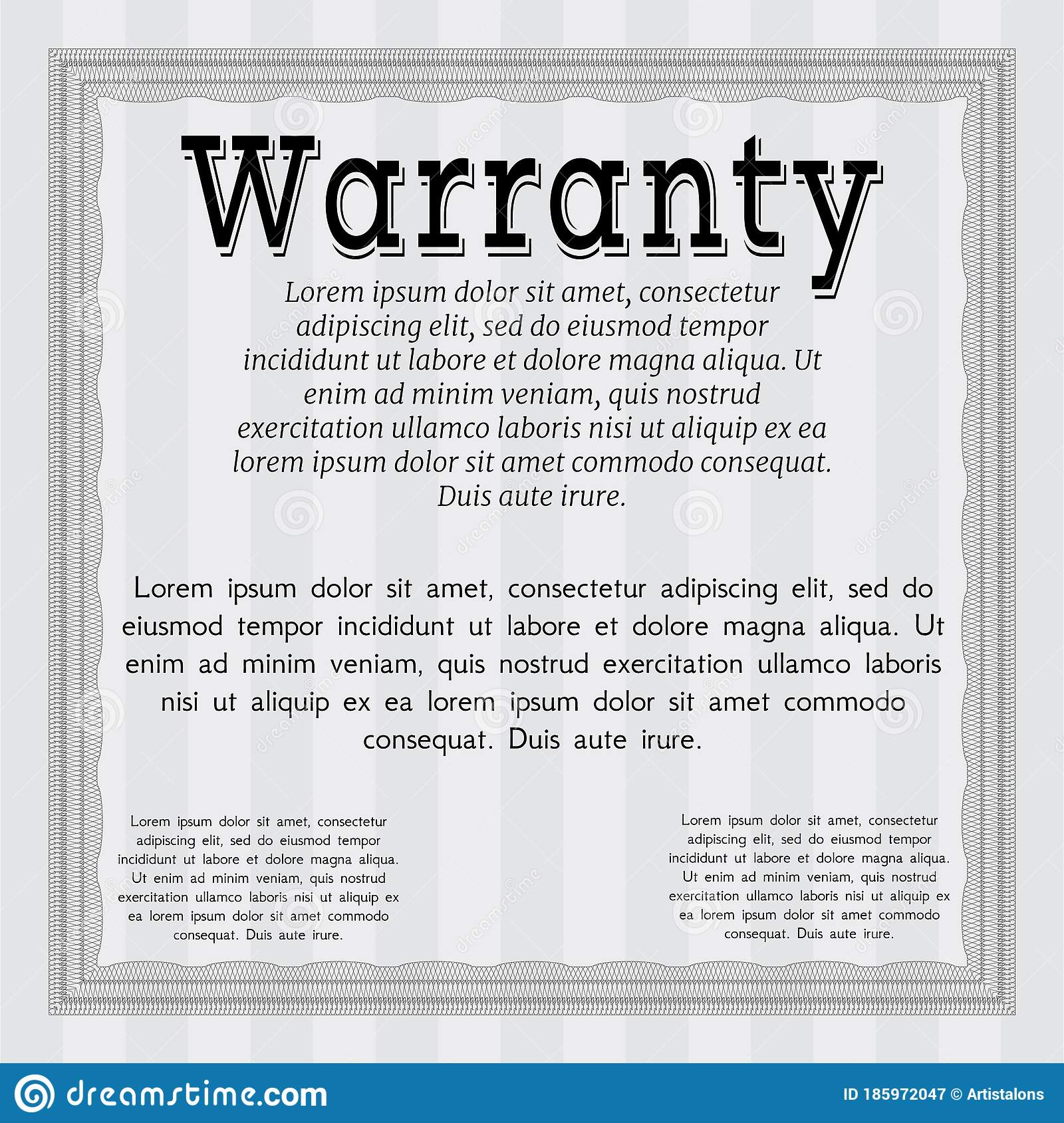 Retro Vintage Warranty Certificate Template Retro Design With Guilloche Pattern And Background Customizable Easy To Edit And Stock Vector Illustration Of Card Restore 185972047