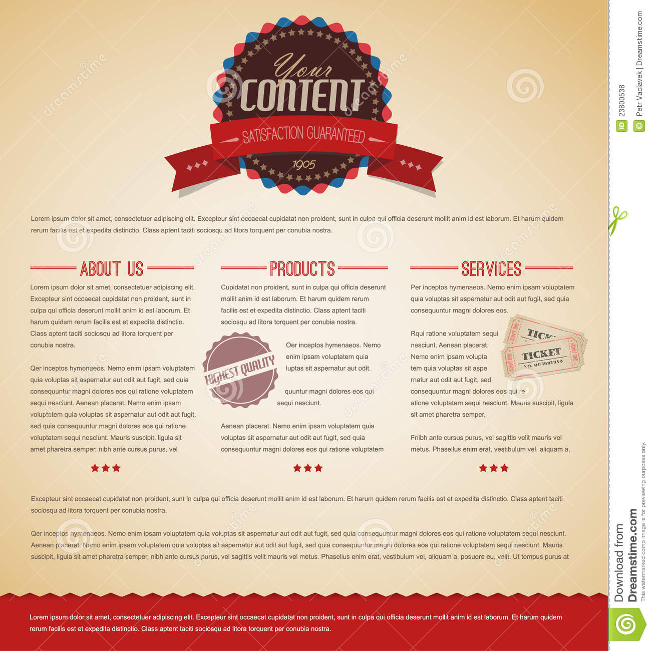 Retro Vintage Web Page Template Royalty Free Stock Photos - Image ...