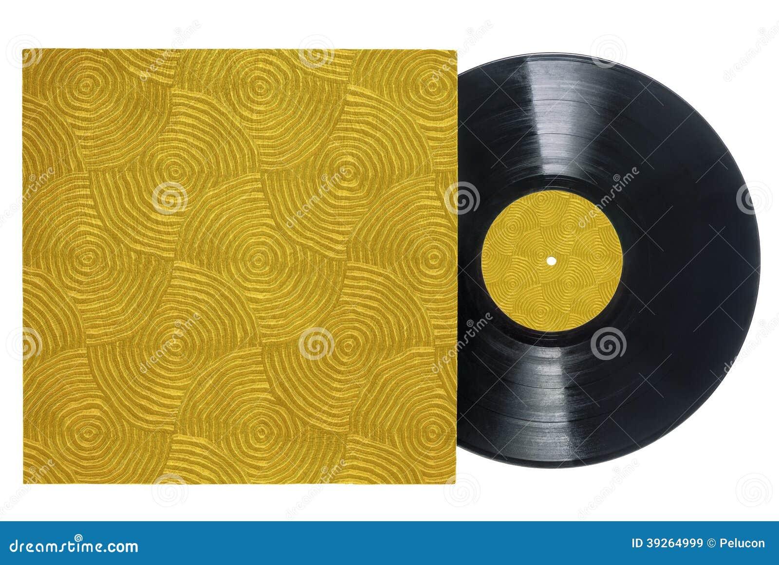 Retro Vinyl Record With Groove Textured Sleeve Stock