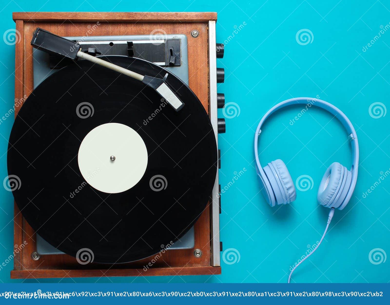 Retro vinyl record player, headphones