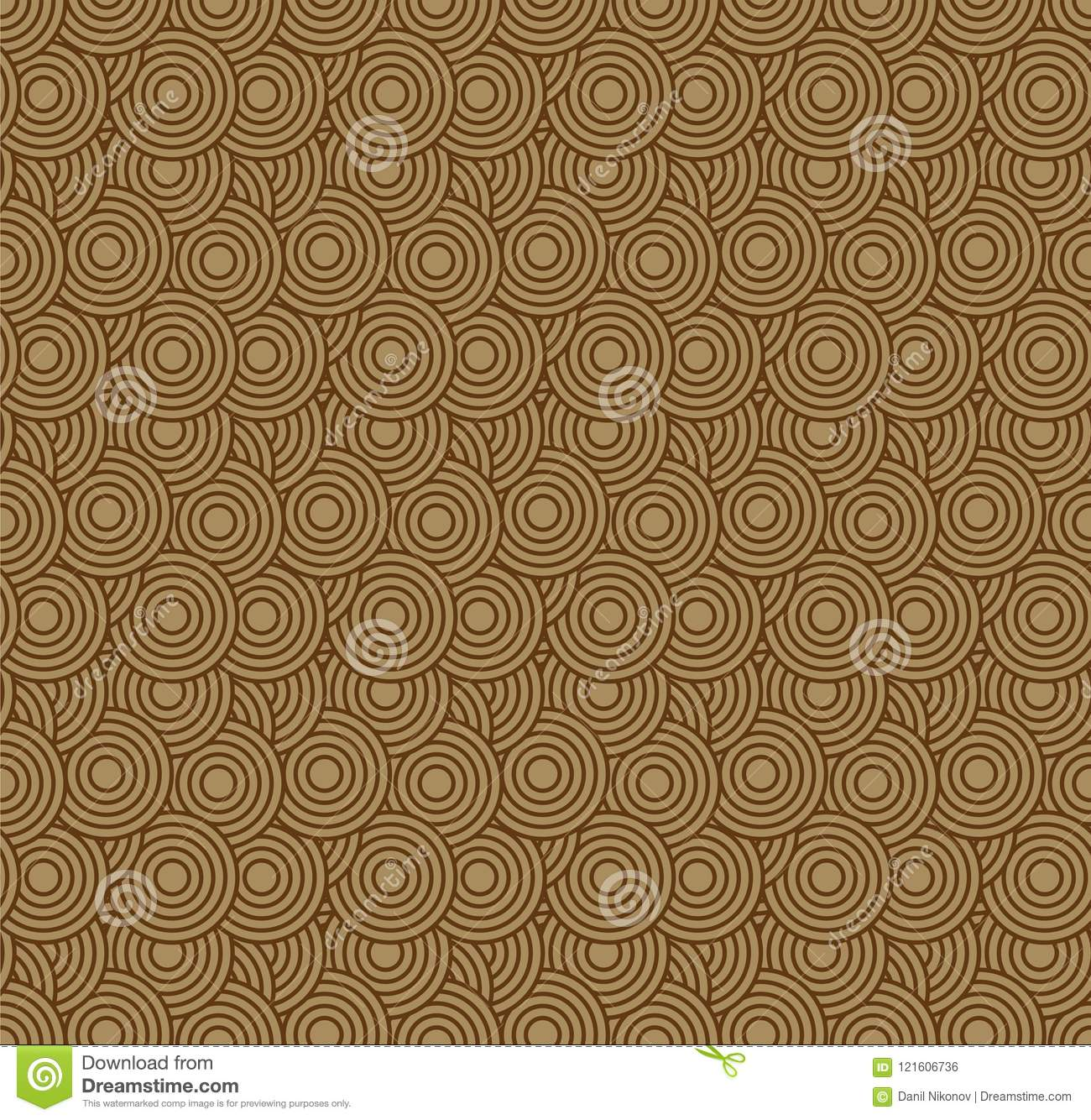 Retro Wallpaper Abstract Seamless Geometric Pattern With Circles On Brown