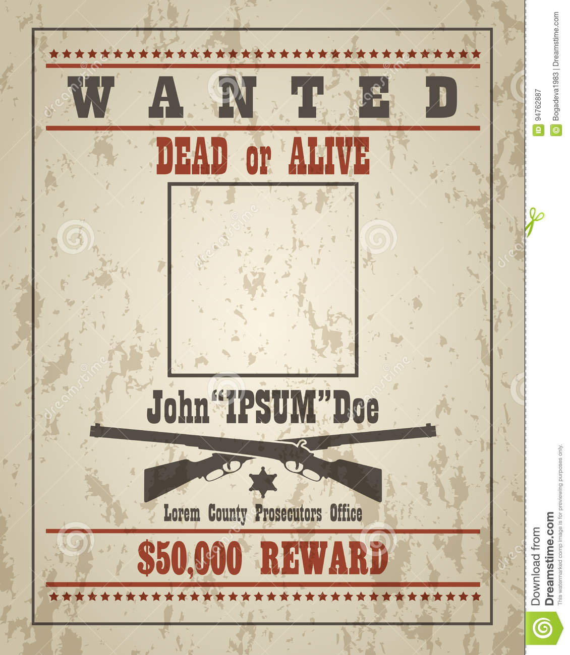 Retro wanted poster template stock vector image 94762887 for Wanted dead or alive poster template free