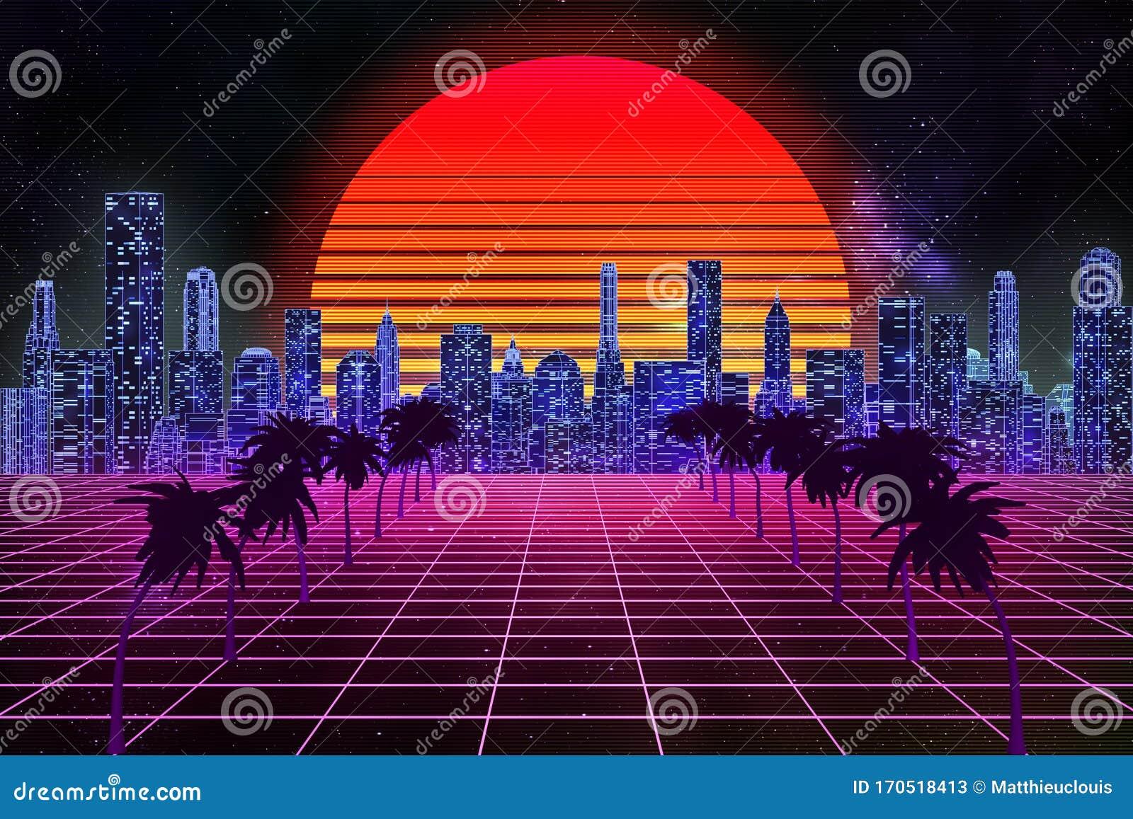 Retro Wave Synthwave Or Vaporwave Skyline Scenery Or Landscape At