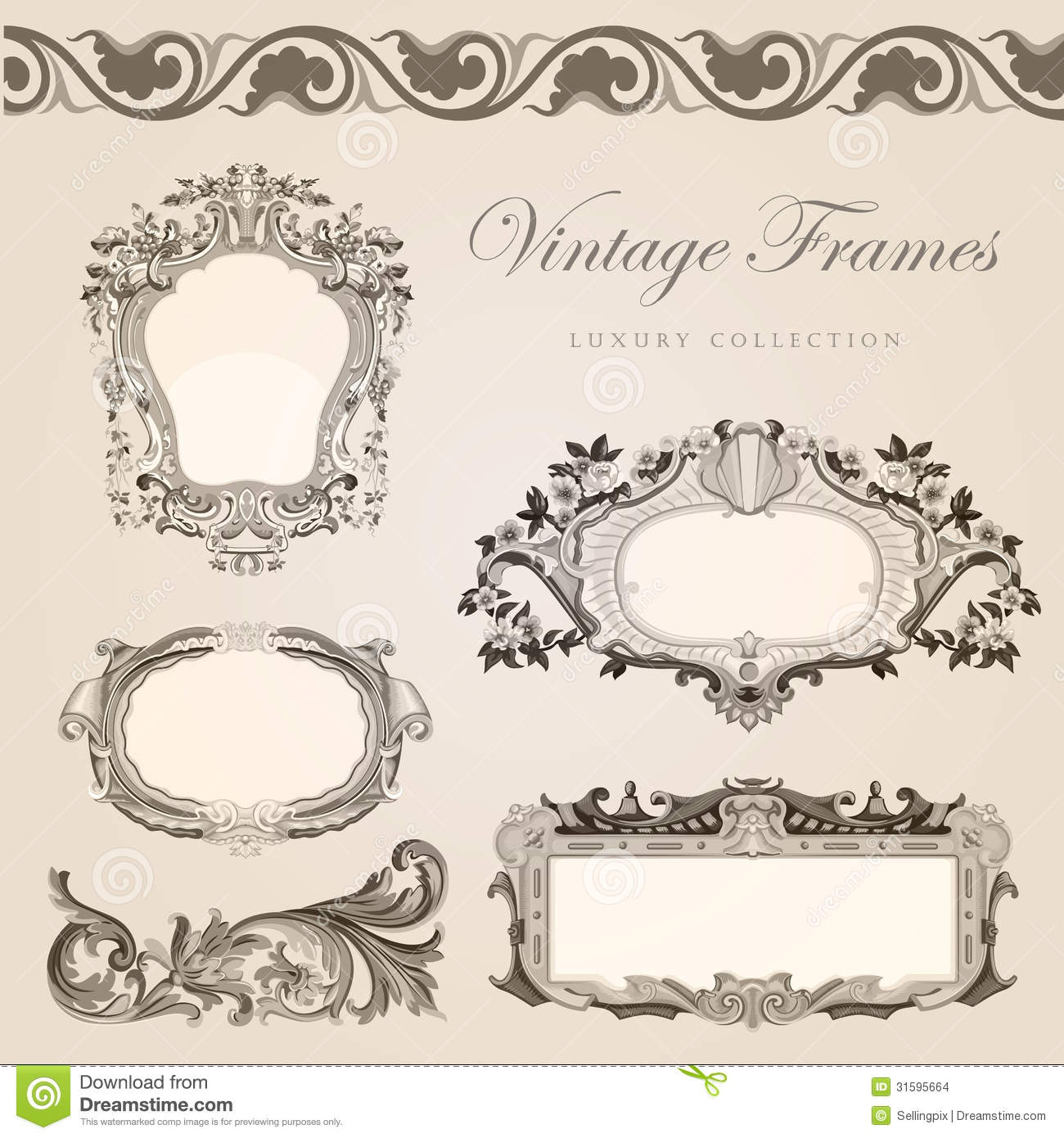 retro wedding invitation template vintage frames stock vector