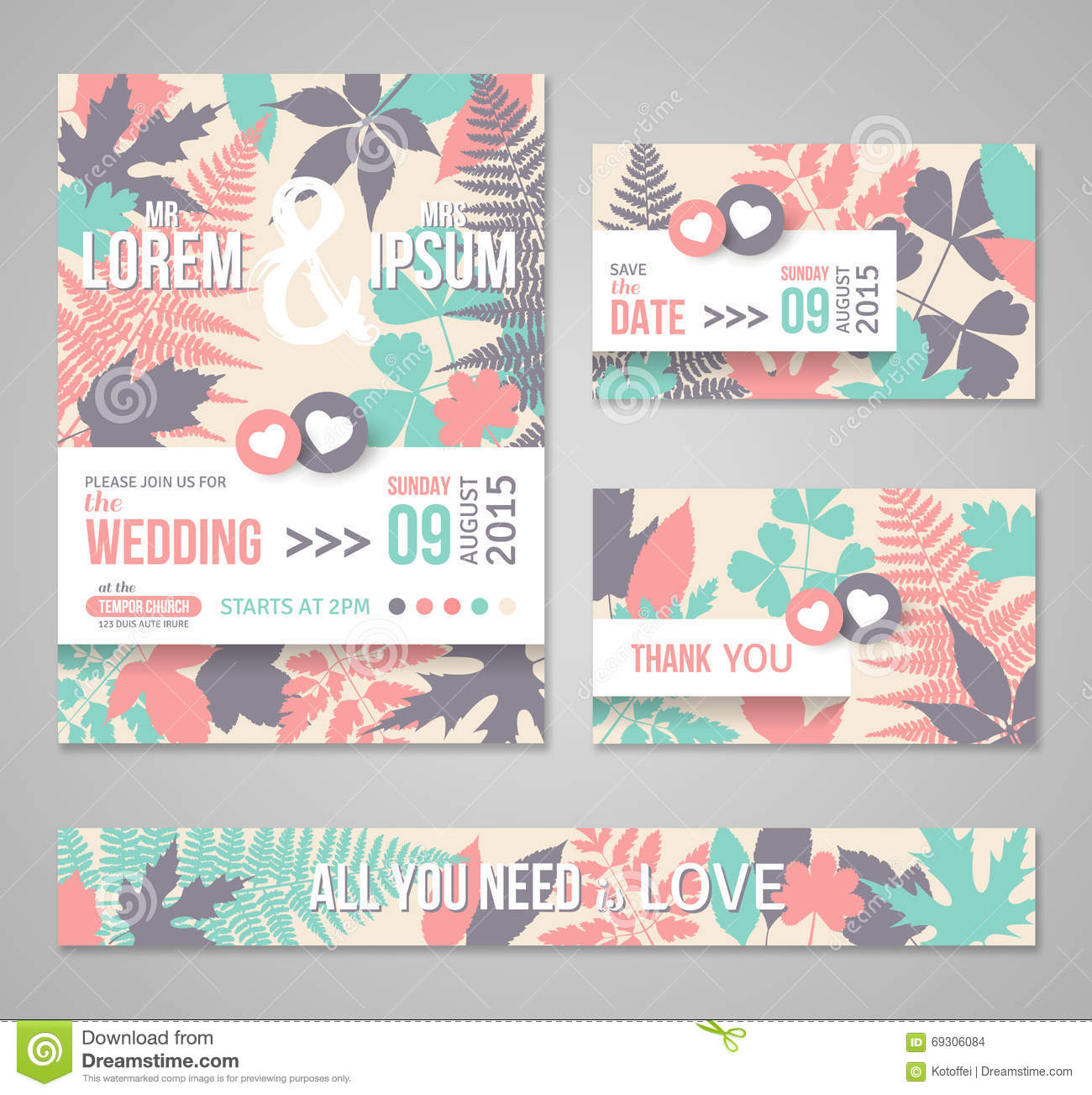 retro wedding invitations with forest leaves stock photo image of