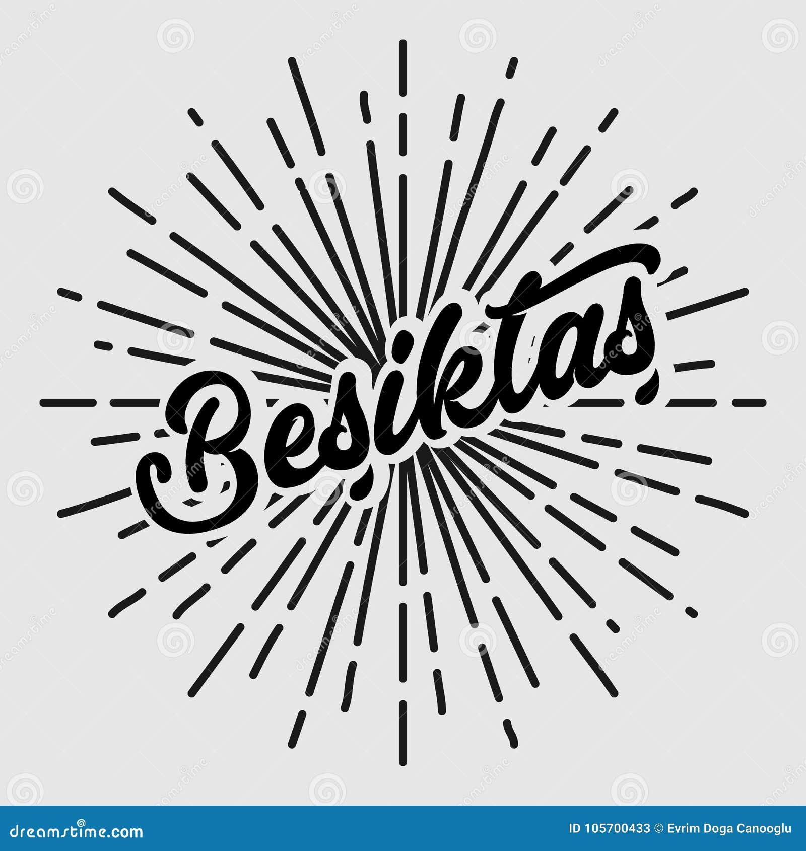 Retro- Weinlesedesign des Besiktas-Texttypographiesonnenkreises