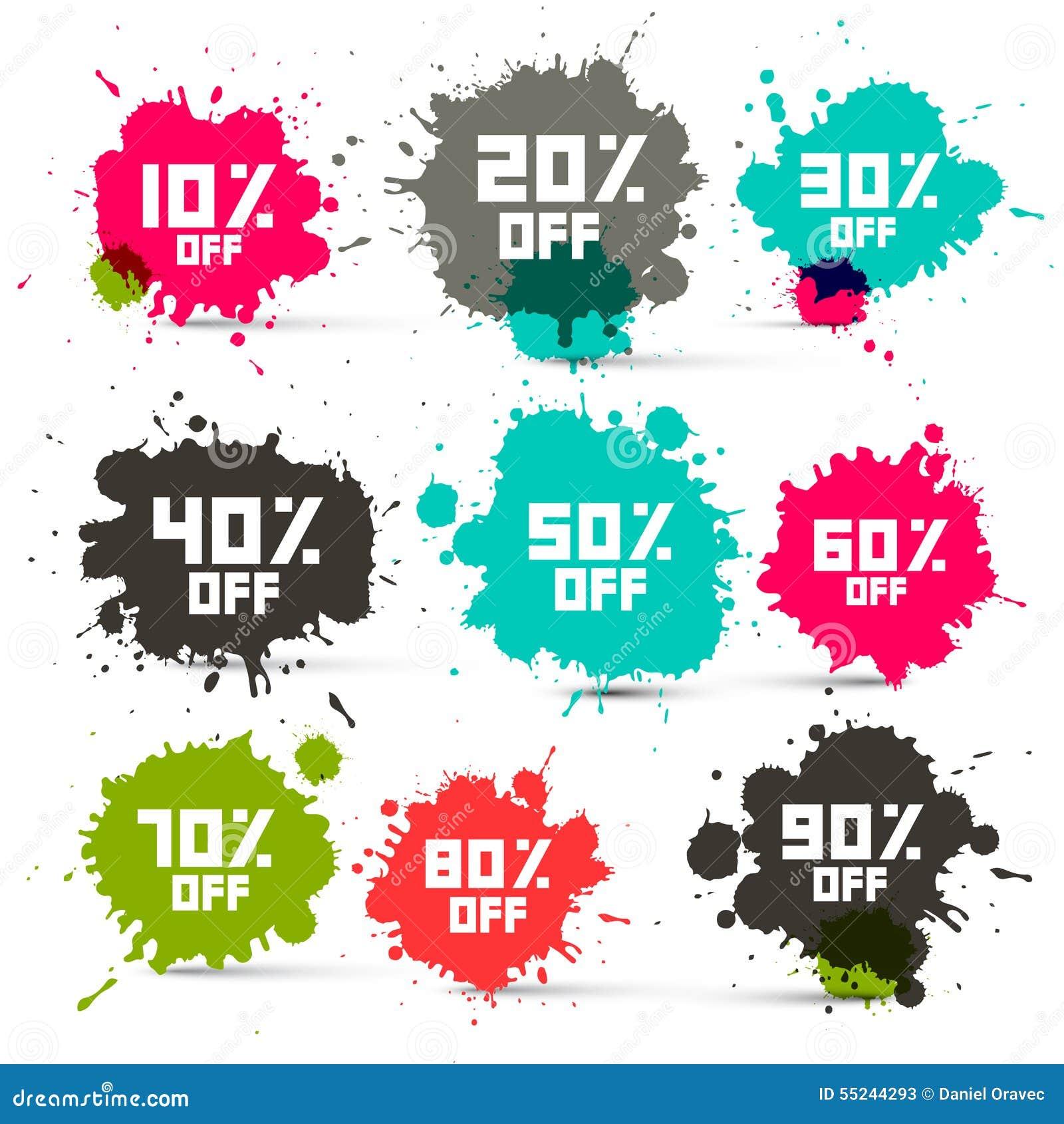 Retro Wektorowi Przejrzyści Kolorowi Dyskontowi sprzedaży pluśnięcia