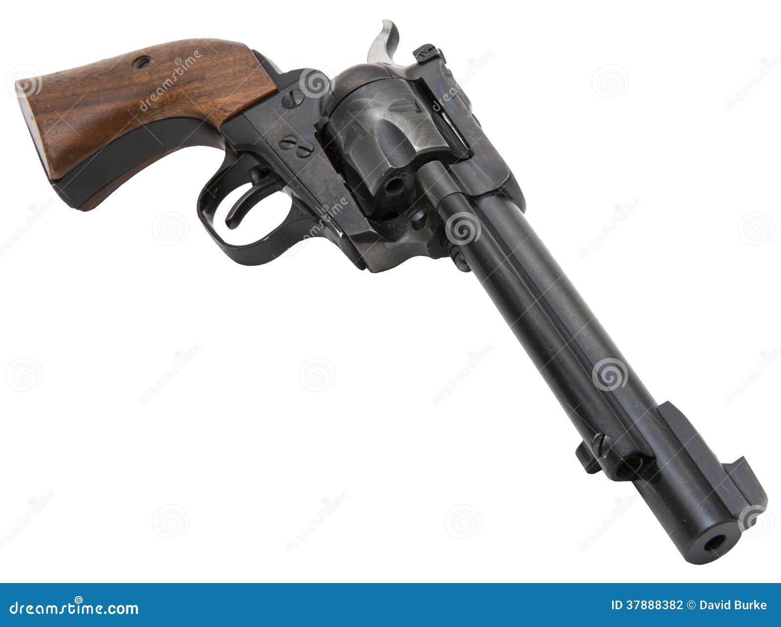 Retro westelijke revolver isoleerde wit