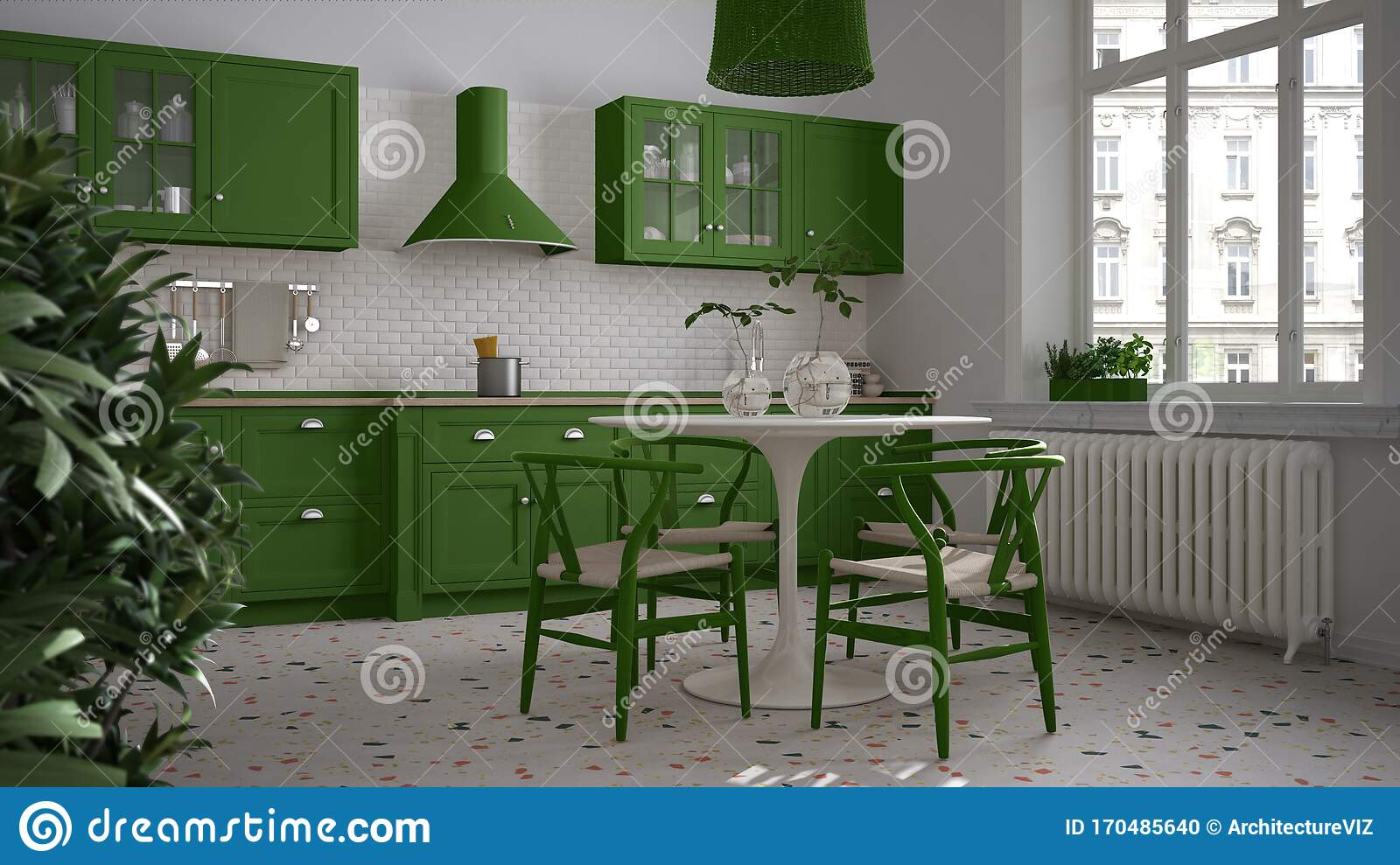 Retro White And Green Vintage Kitchen With Terrazzo Marble Floor Panoramic Windows Dining Room Round Table With Wooden Chairs Stock Illustration Illustration Of Light Glasses 170485640