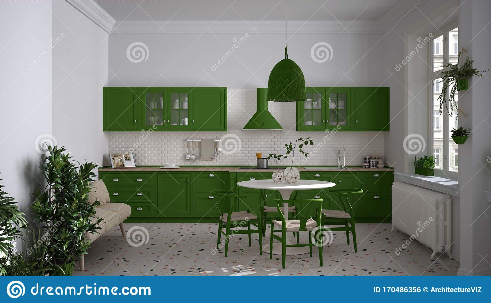 Retro White And Green Vintage Kitchen With Terrazzo Marble Floor Panoramic Windows Dining Room Round Table With Wooden Chairs Stock Photo Image Of Lifestyle Colors 170486356