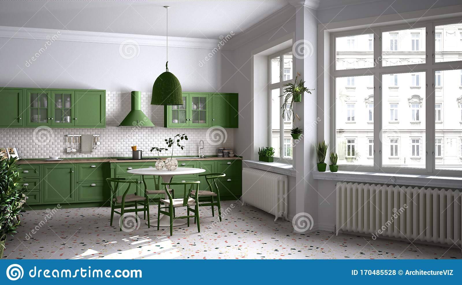 Retro White And Green Vintage Kitchen With Terrazzo Marble Floor Panoramic Windows Dining Room Round Table With Wooden Chairs Stock Illustration Illustration Of Furniture Eclectic 170485528