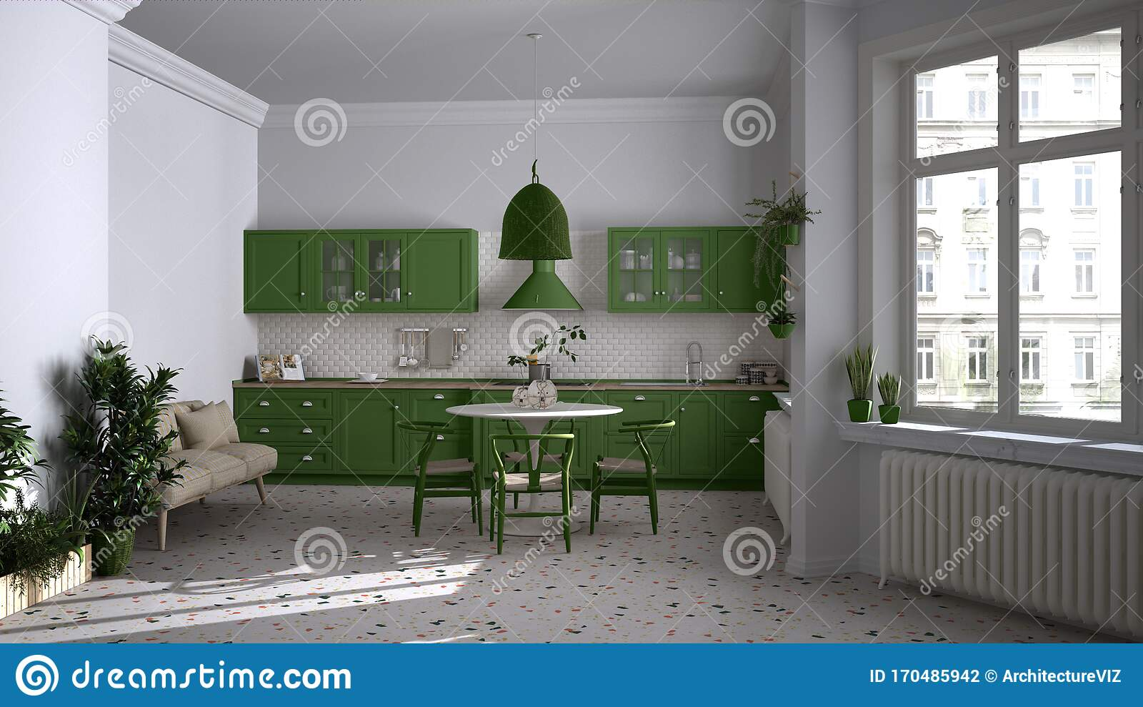 Retro White And Green Vintage Kitchen With Terrazzo Marble Floor Panoramic Windows Dining Room Round Table With Wooden Chairs Stock Photo Image Of Colorful Design 170485942