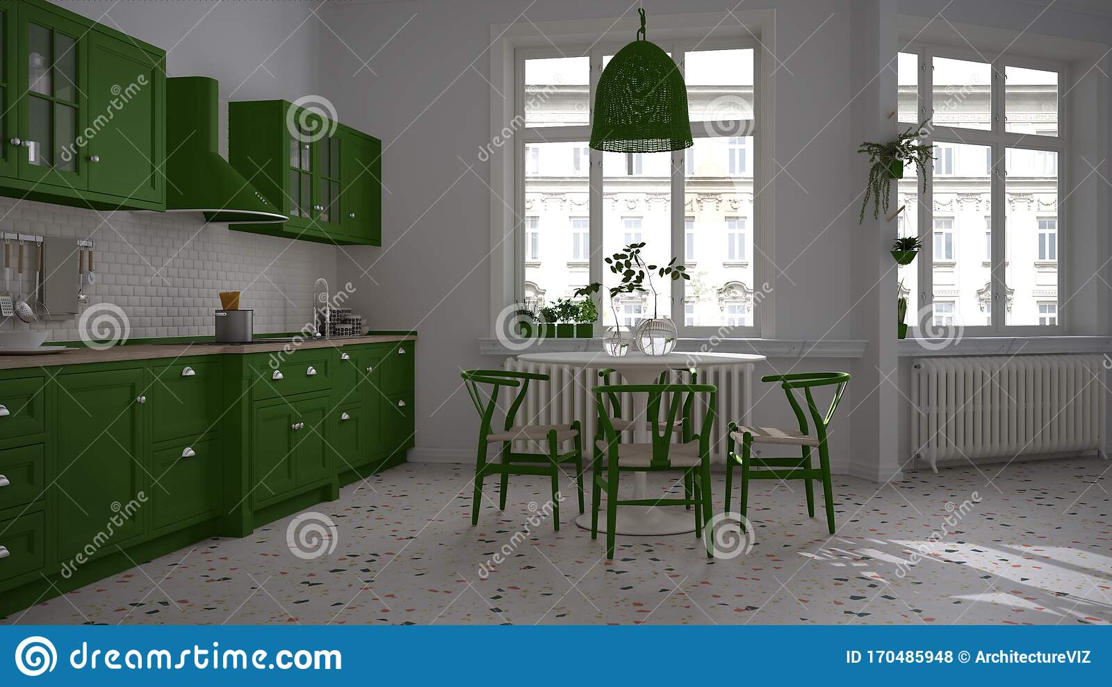 Retro White And Green Vintage Kitchen With Terrazzo Marble Floor Panoramic Windows Dining Room Round Table With Wooden Chairs Stock Illustration Illustration Of Window Residence 170485948