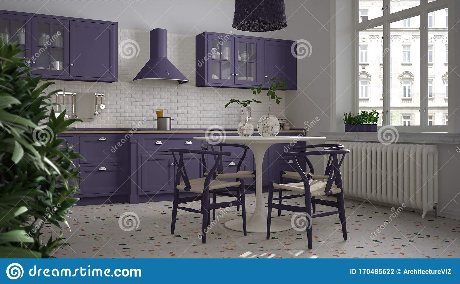 Retro White And Purple Vintage Kitchen With Terrazzo Marble Floor Panoramic Windows Dining Room Round Table With Wooden Chairs Stock Illustration Illustration Of Living Domestic 170485622