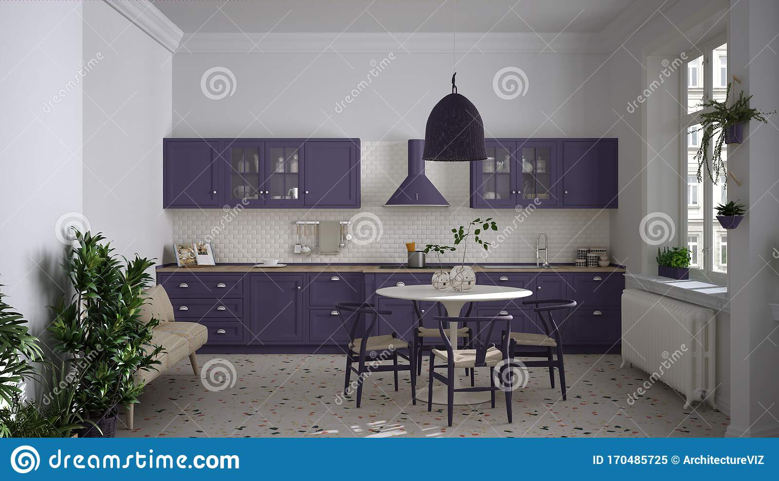 Retro White And Purple Vintage Kitchen With Terrazzo Marble Floor Panoramic Windows Dining Room Round Table With Wooden Chairs Stock Image Image Of Household House 170485725