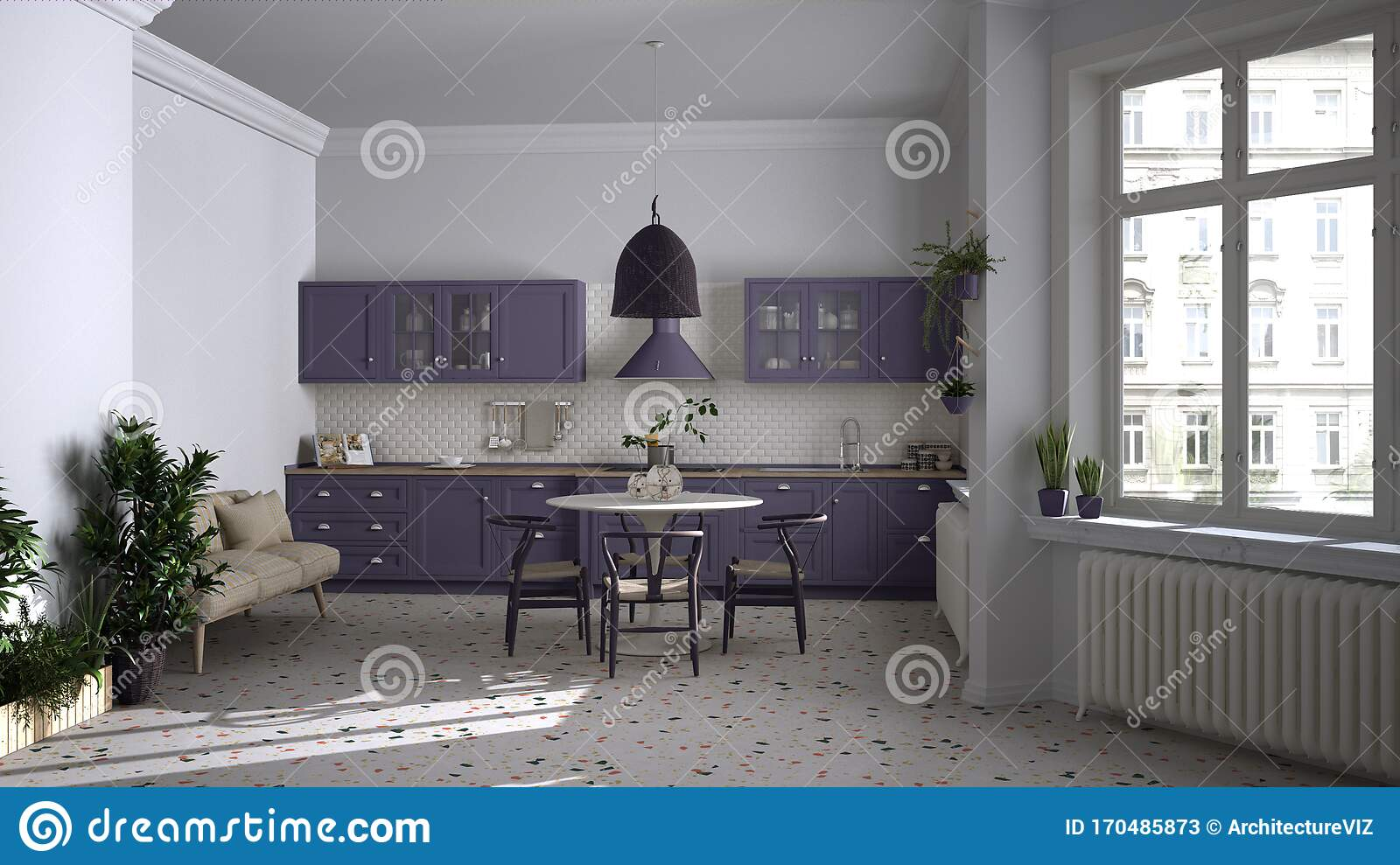 Retro White And Purple Vintage Kitchen With Terrazzo Marble Floor Panoramic Windows Dining Room Round Table With Wooden Chairs Stock Illustration Illustration Of Living Home 170485873