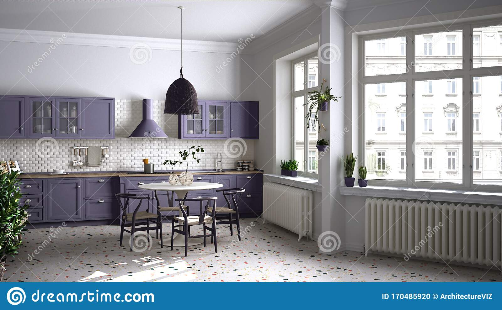 Retro White And Purple Vintage Kitchen With Terrazzo Marble Floor Panoramic Windows Dining Room Round Table With Wooden Chairs Stock Illustration Illustration Of Style Eclectic 170485920