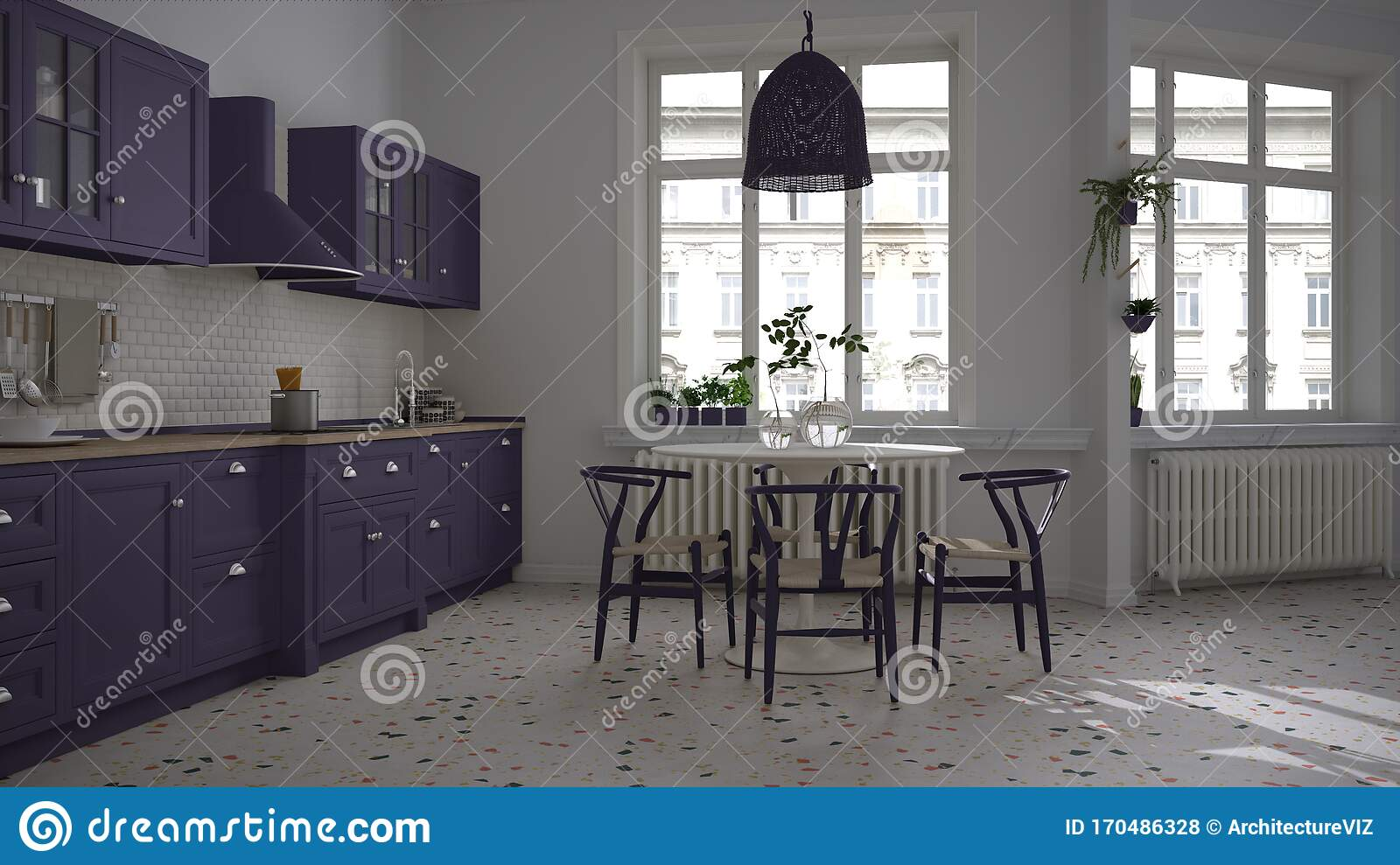 Retro White And Purple Vintage Kitchen With Terrazzo Marble Floor Panoramic Windows Dining Room Round Table With Wooden Chairs Stock Illustration Illustration Of Light White 170486328