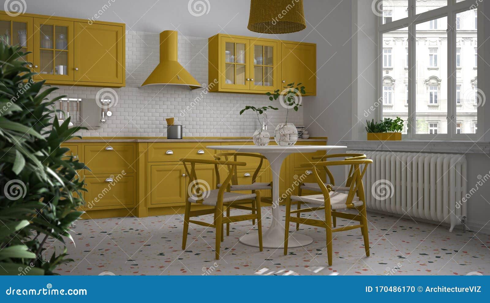 Retro White And Yellow Vintage Kitchen With Terrazzo Marble Floor ...