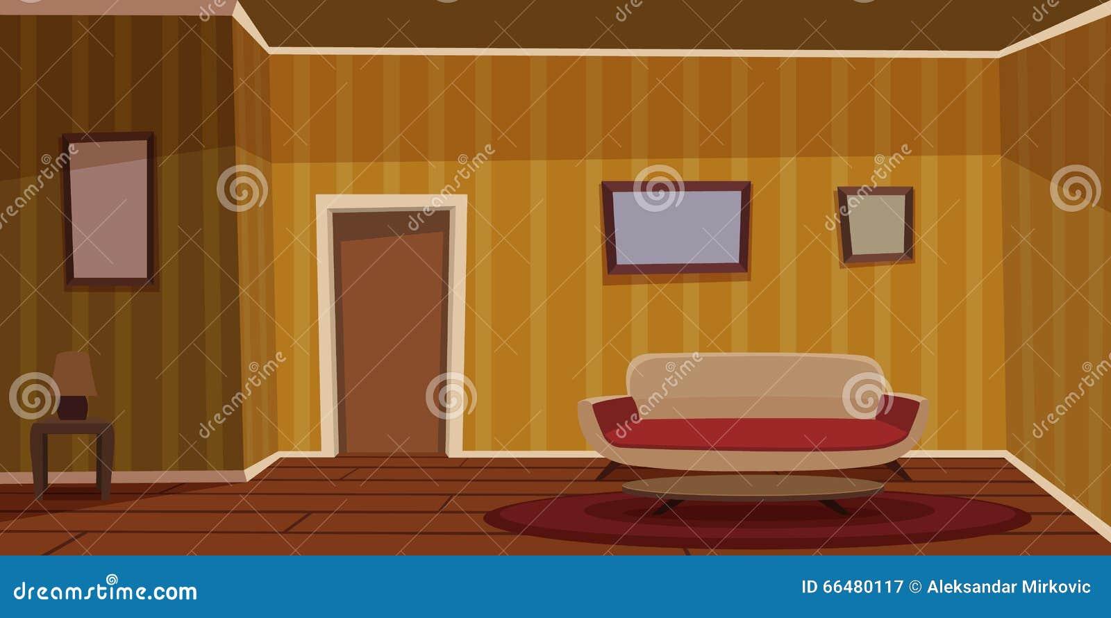 retro wohnzimmer gelb vektor abbildung illustration von wand 66480117. Black Bedroom Furniture Sets. Home Design Ideas