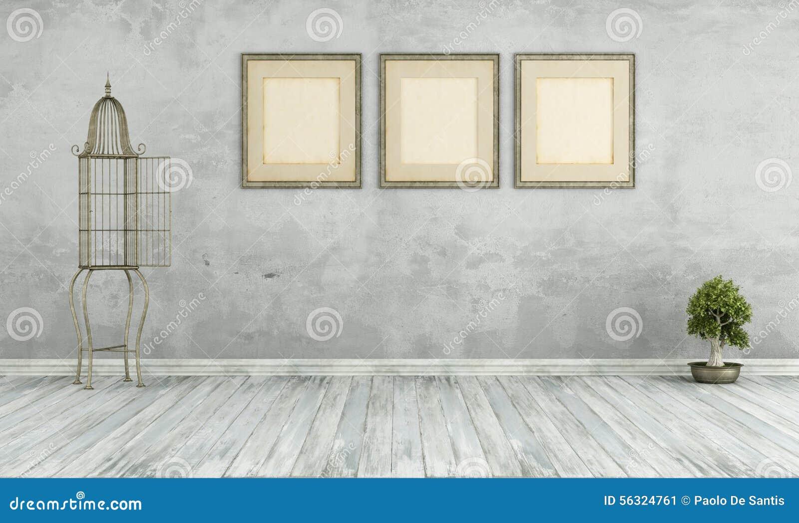 Retro- Wohnzimmer Ohne Möbel Stock Abbildung - Illustration von holz ...