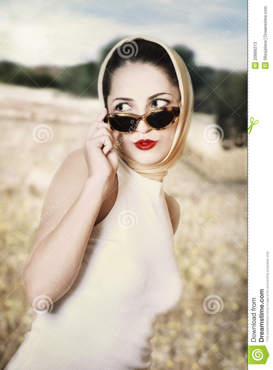 Retro Woman Stock Image. Image Of Film, Glamor, Glasses