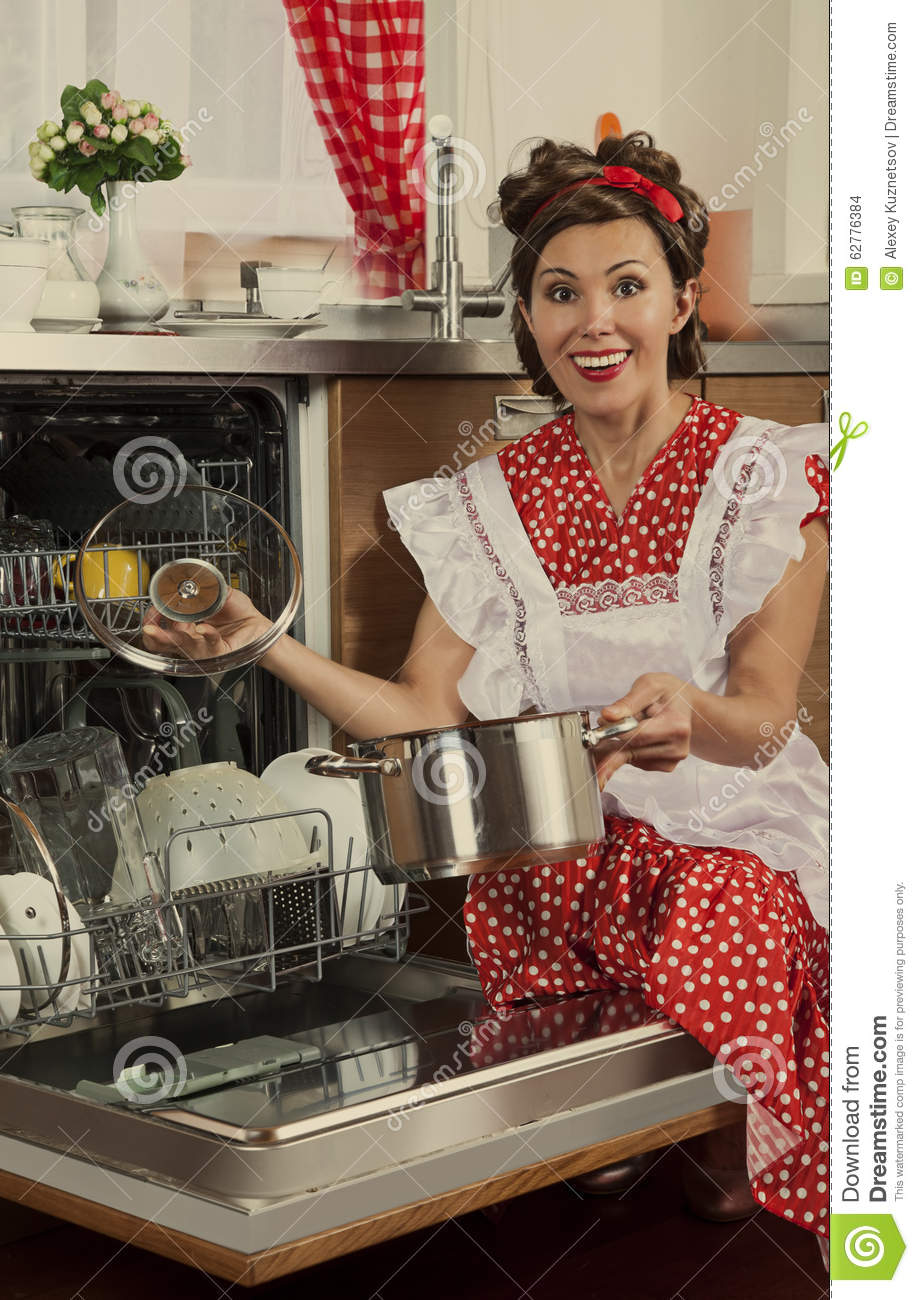 Retro woman at home stock photo image of machinery for Classic housewife