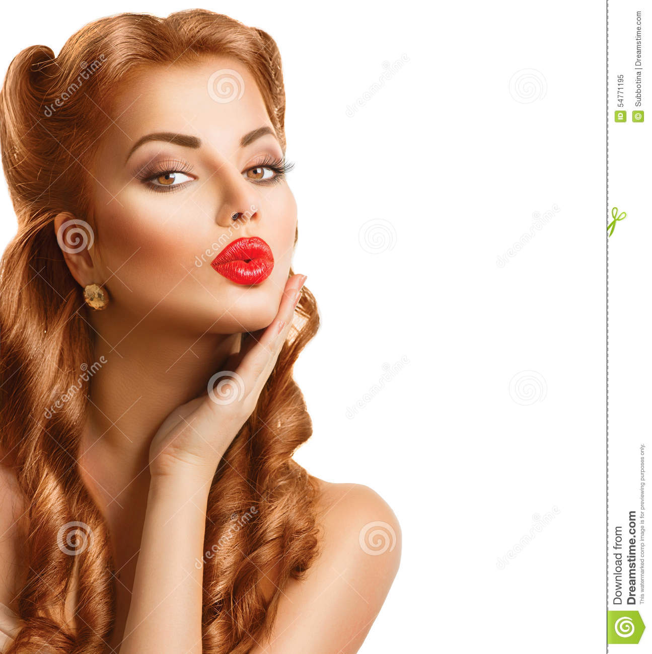 retro woman with red hair stock image image of eyes. Black Bedroom Furniture Sets. Home Design Ideas