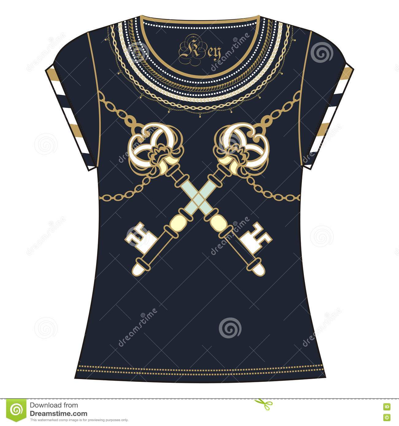 Design t shirt embroidery - Retro Woman T Shirt Print Design Embroidery Of Heraldic Key And Chain Gold Blue Color