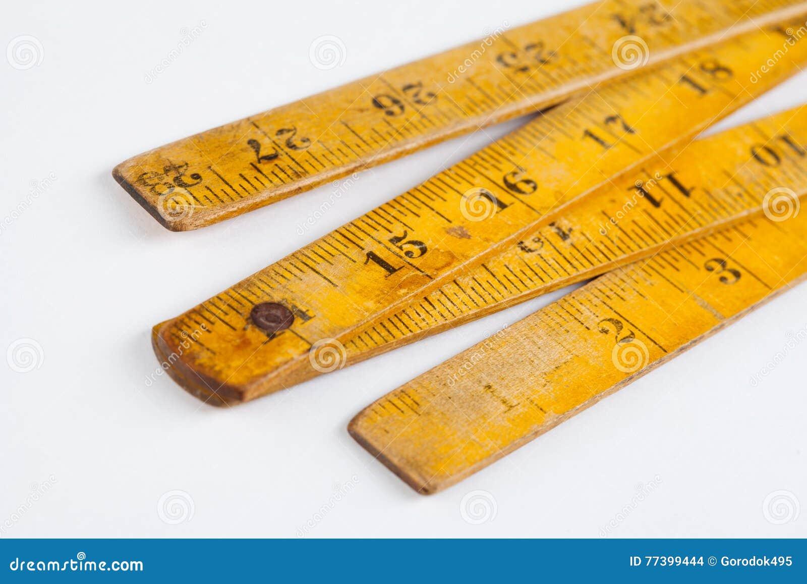 Time Measuring Instruments : Retro wooden carpenter ruler measure measuring tools