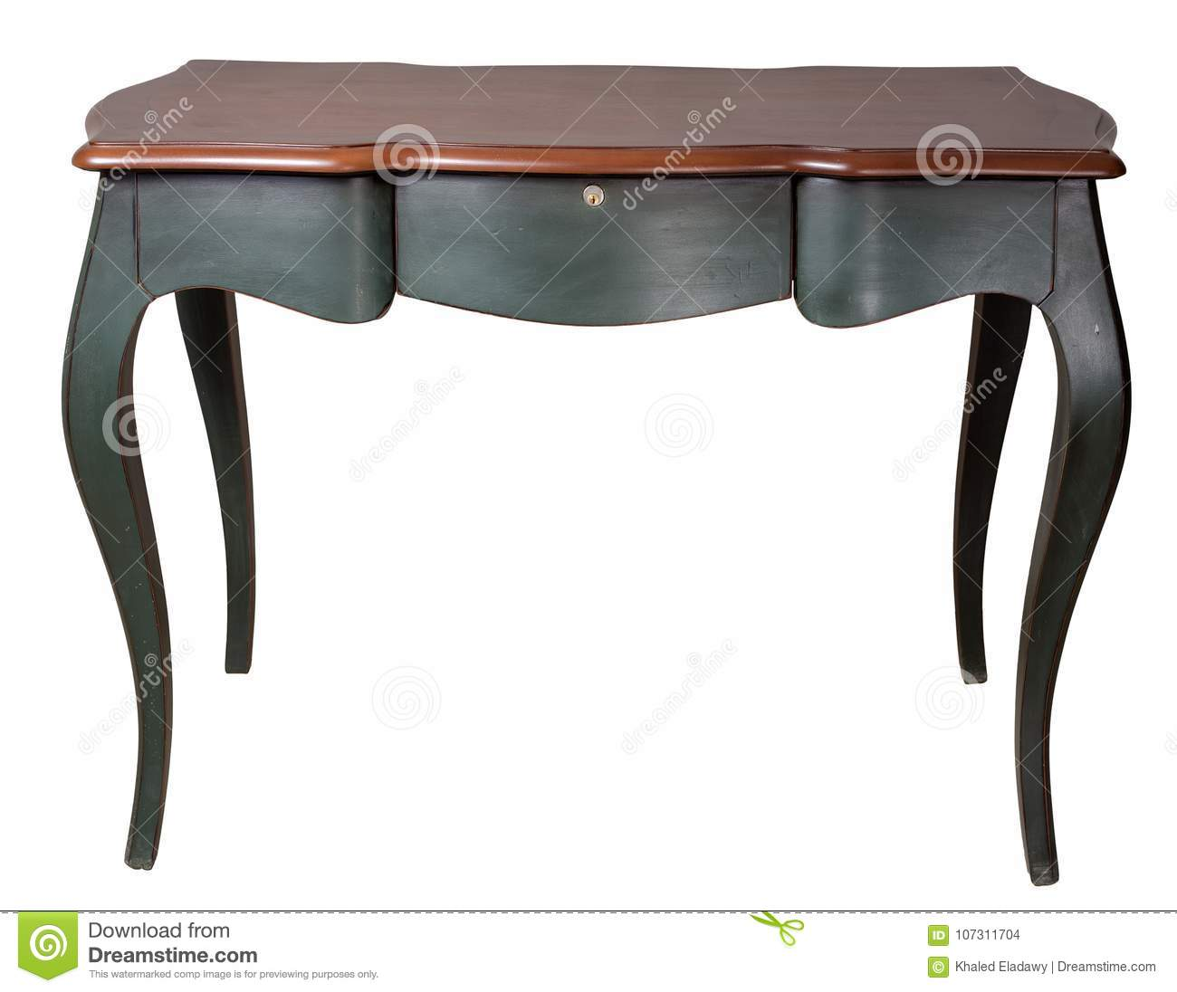 Retro wooden desk table with dark green legs and three drawers isolated on white background including clipping path