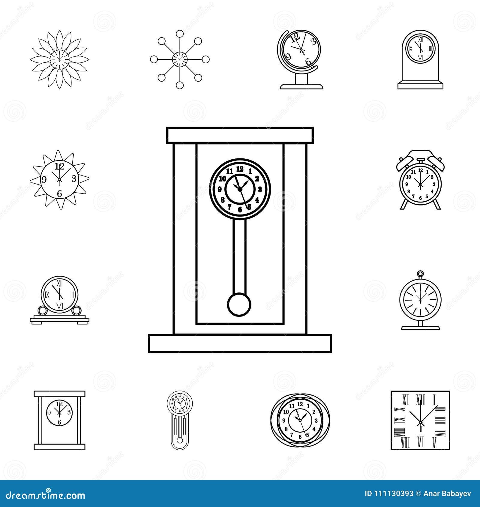 Retro Wooden Pendulum Clock Line Icon  Clock Icon  Premium
