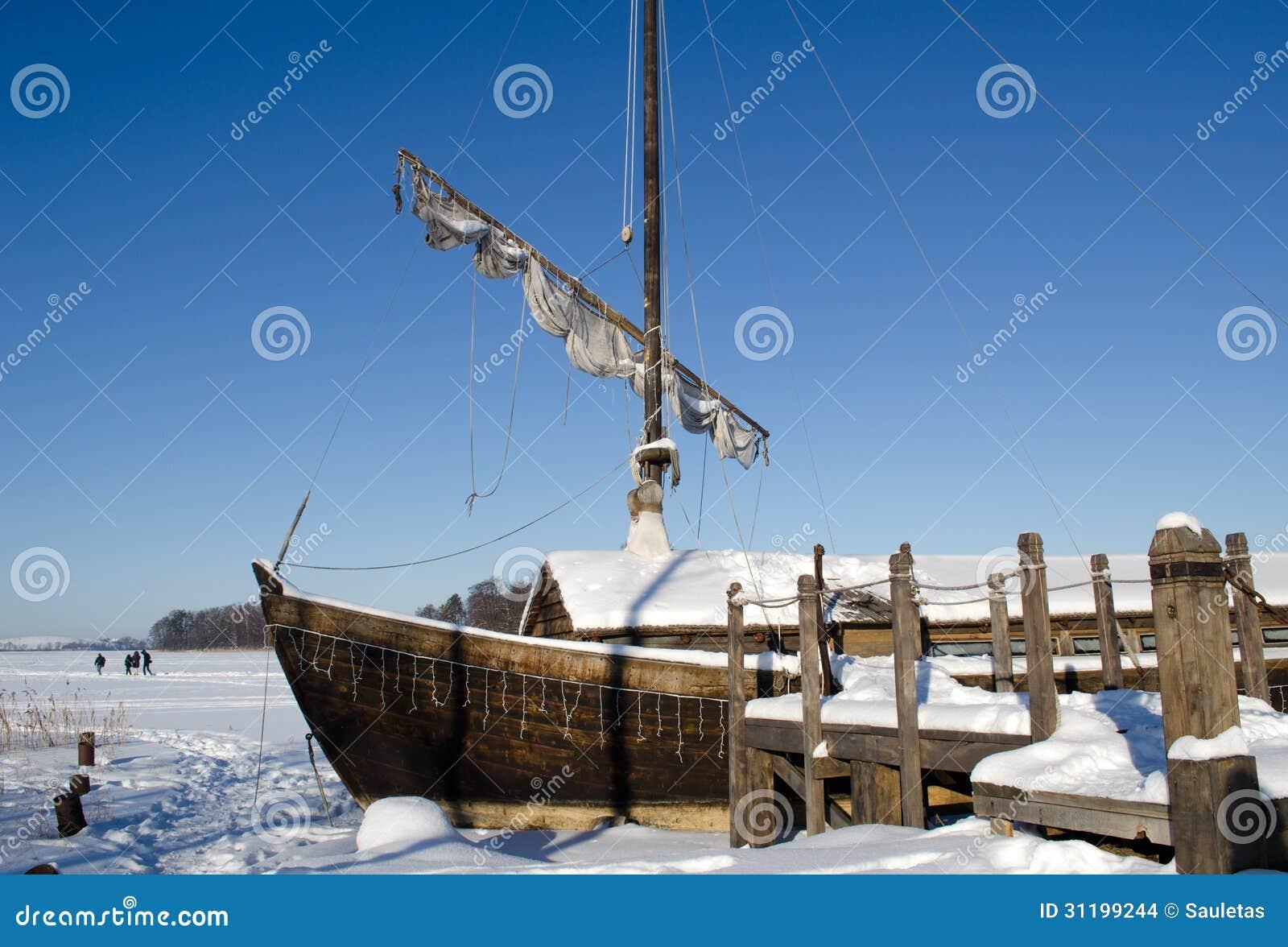 Retro Wooden Ship Frozen Lake Ice Sail People Walk Stock Photo - Image: 31199244