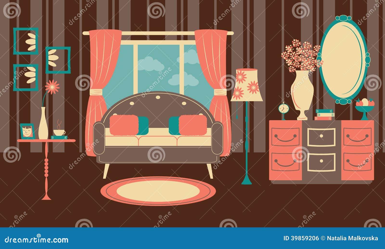 Retro Art Woonkamer : Retro woonkamer in een vlakke stijl vector illustratie