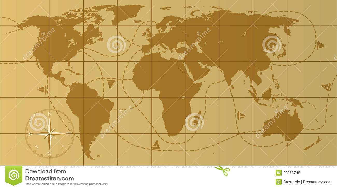 retro world map stock vector. illustration of geography - 20052745