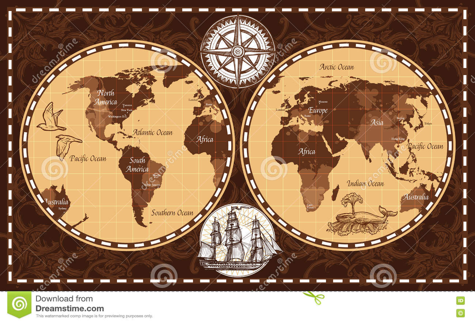 Retro world map stock vector illustration of route poster 78998035 download retro world map stock vector illustration of route poster 78998035 gumiabroncs Images