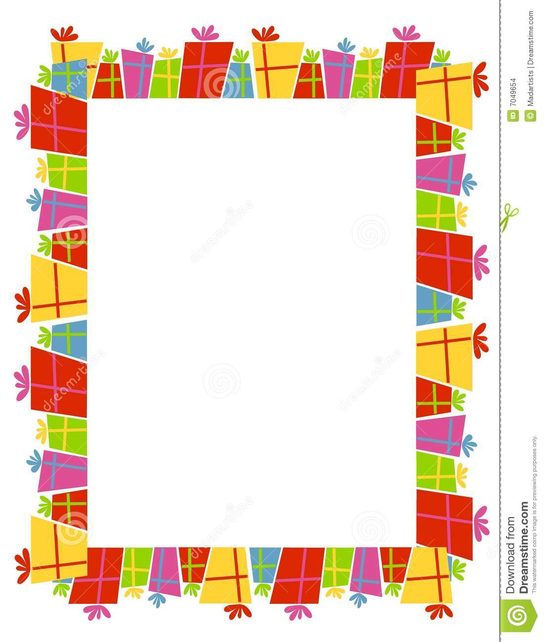 Christmas Toys Border : Retro xmas gifts border stock illustration