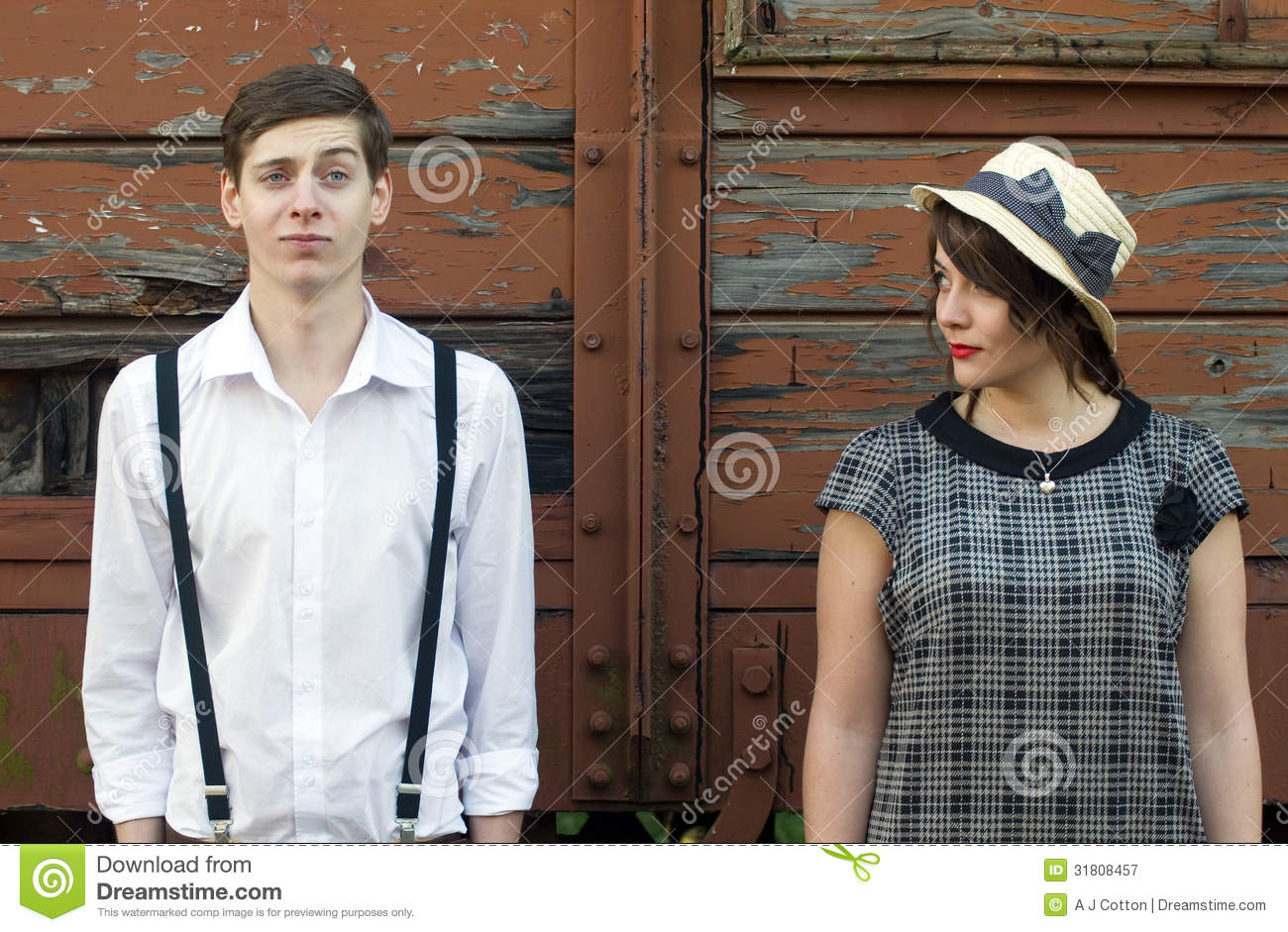 Retro young love couple vintage train tracks — Stock Photo ...