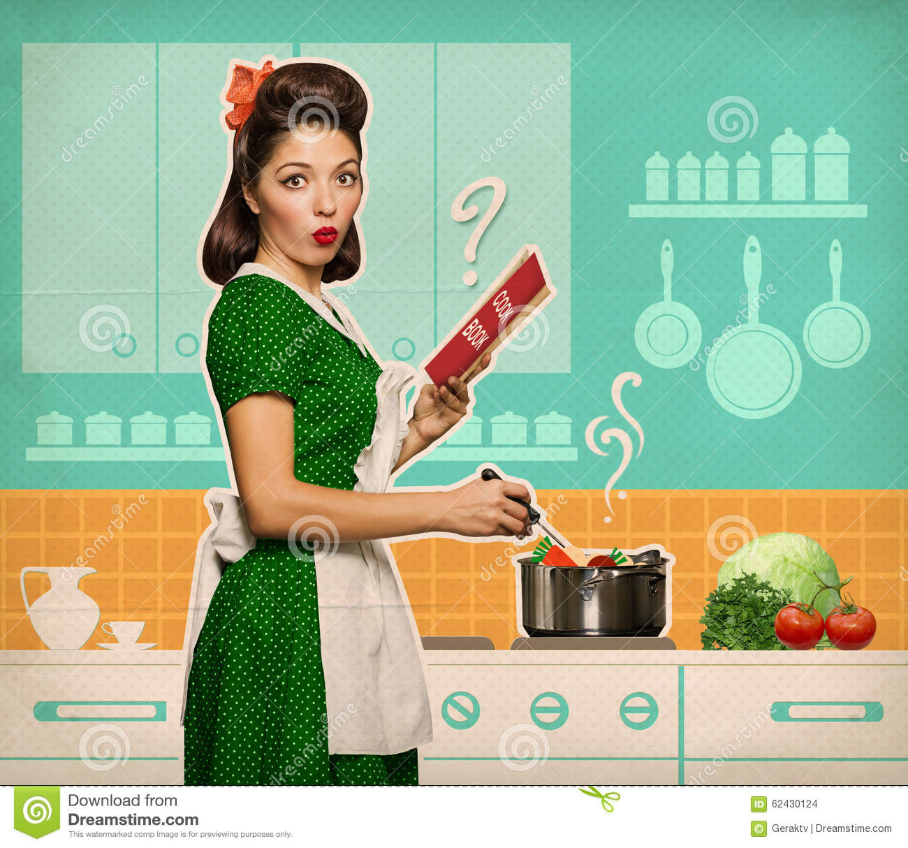 Retro Woman In Kitchen: Retro Young Woman Cooking And Reading Recipe Book In Her