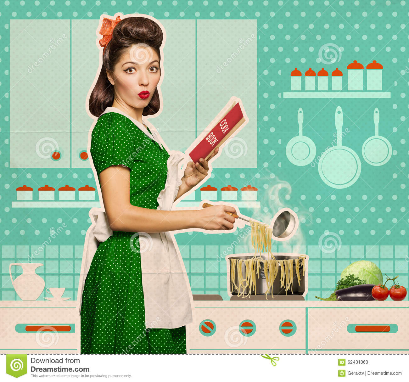 Retro Woman In Kitchen: Retro Young Woman Cooking Spaghettei And Reading Recipe