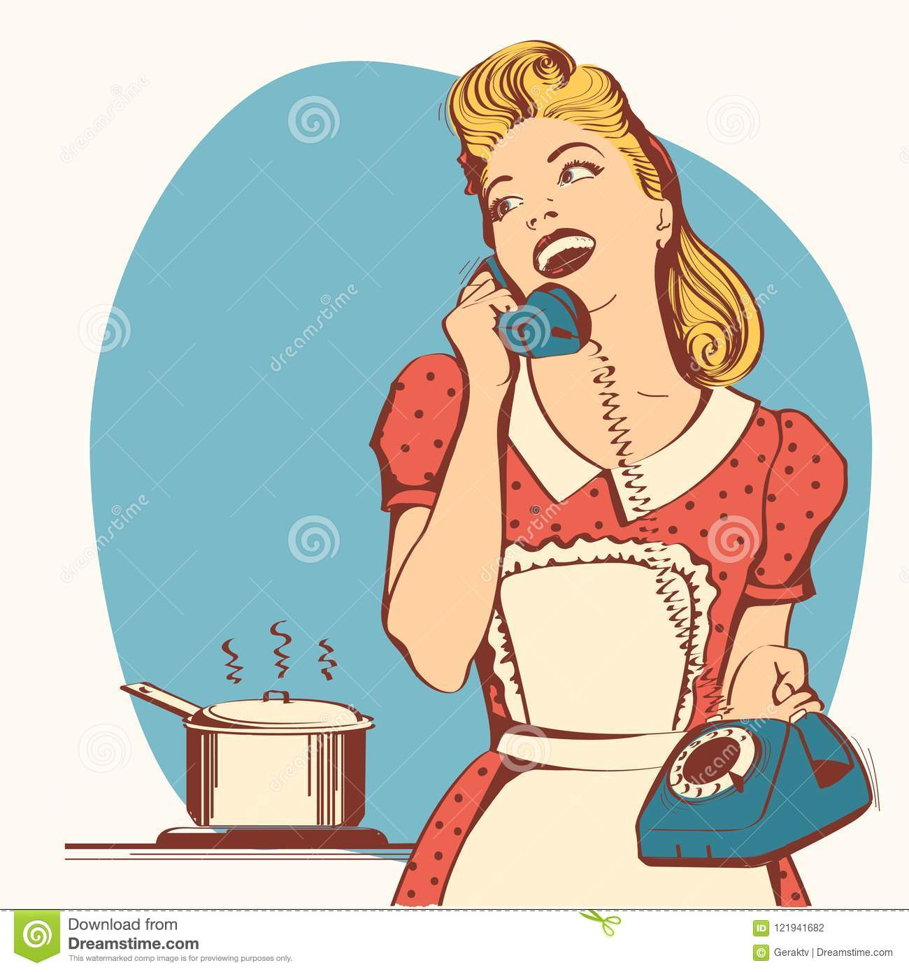 Retro Young Woman Talking On Phone In Her Kitchen.Vector Color I ...