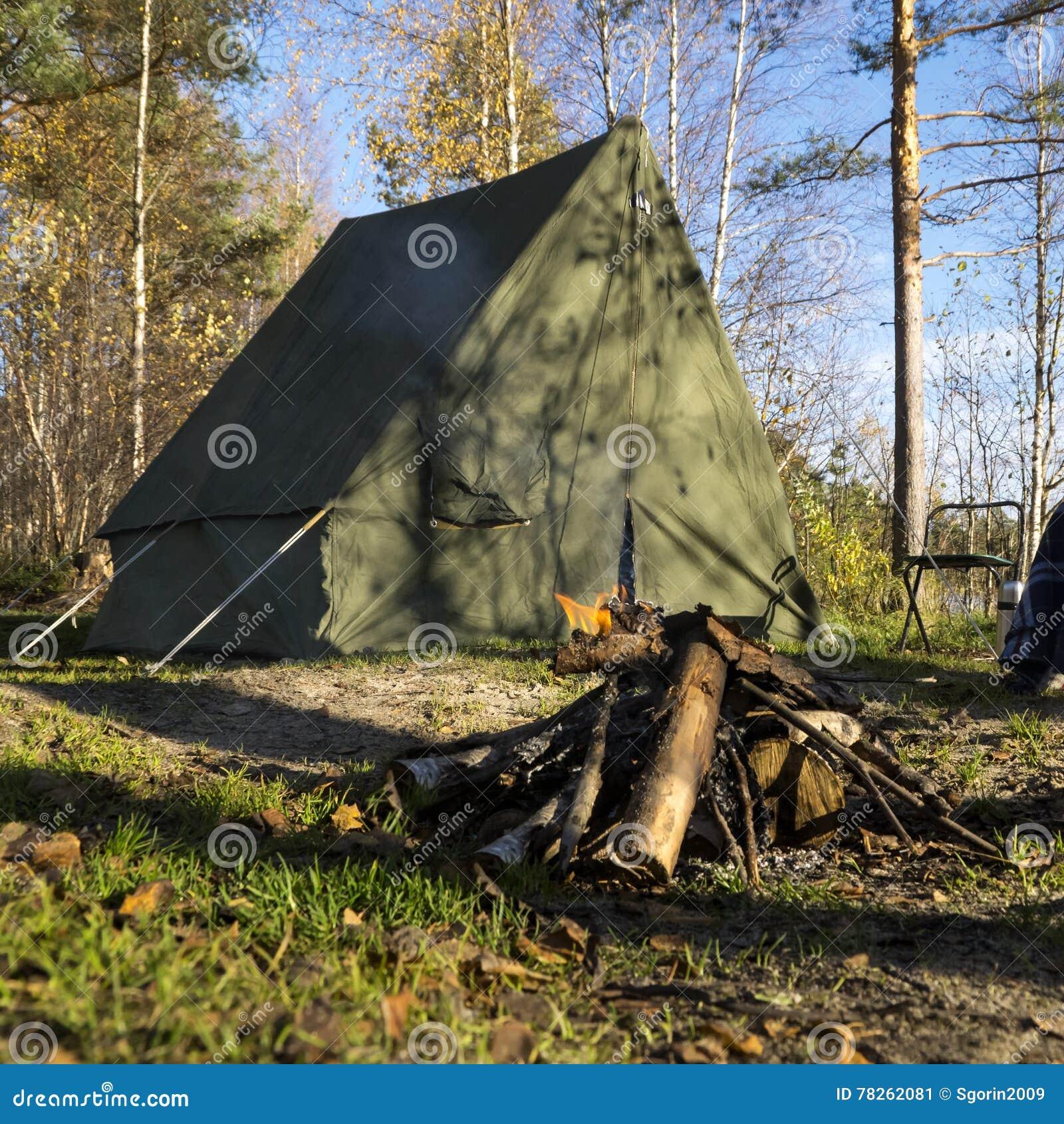 Retro- Zelt Im Wald- Und Lagerfeuer Stockbild