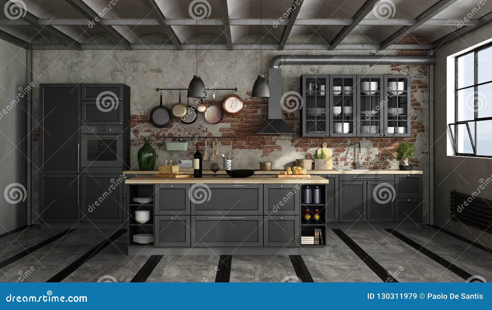 Retro Design Keuken : Retro zwarte keuken in een oude ruimte stock illustratie
