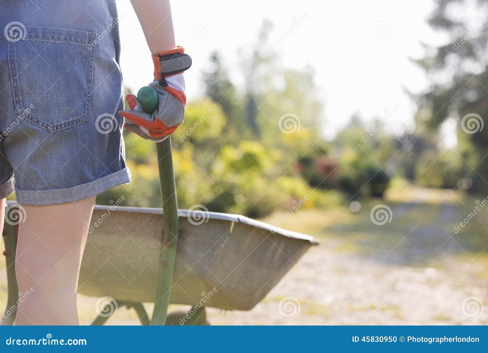 Retrovisione del Midsection del giardiniere femminile che spinge carriola alla scuola materna della pianta