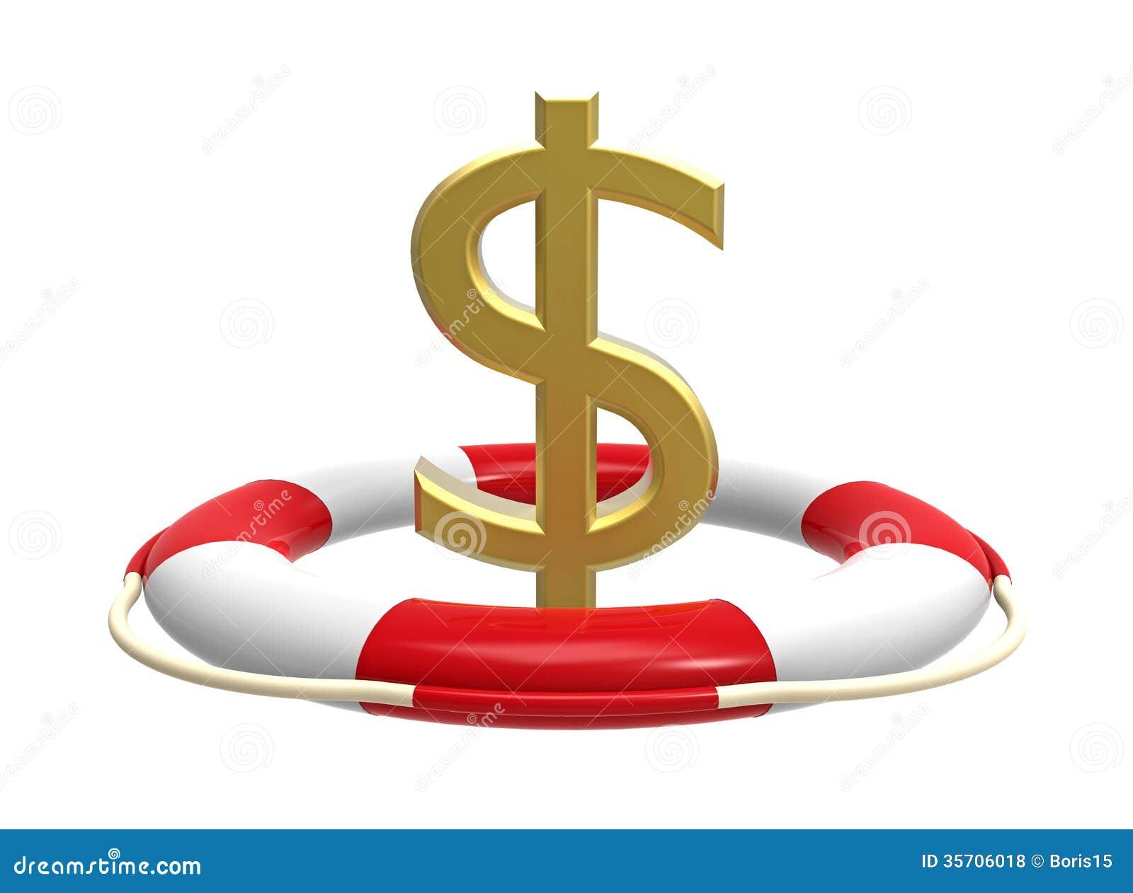 Rettungsring mit Dollarzeichen