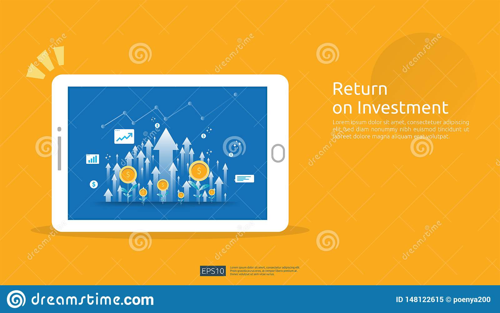 Return on investment, profit opportunity concept. business growth arrows to success on tablet screen. graph chart increase and