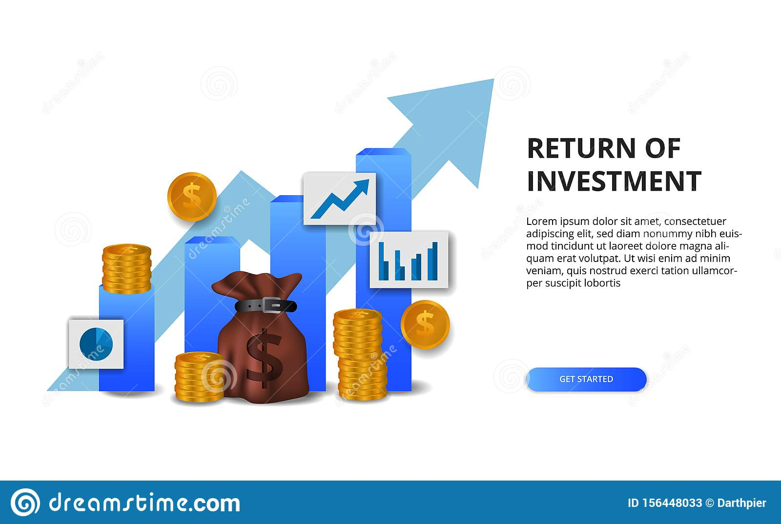Return on investment ROI, profit opportunity concept. business finance growth to success. bar chart presentation concept with