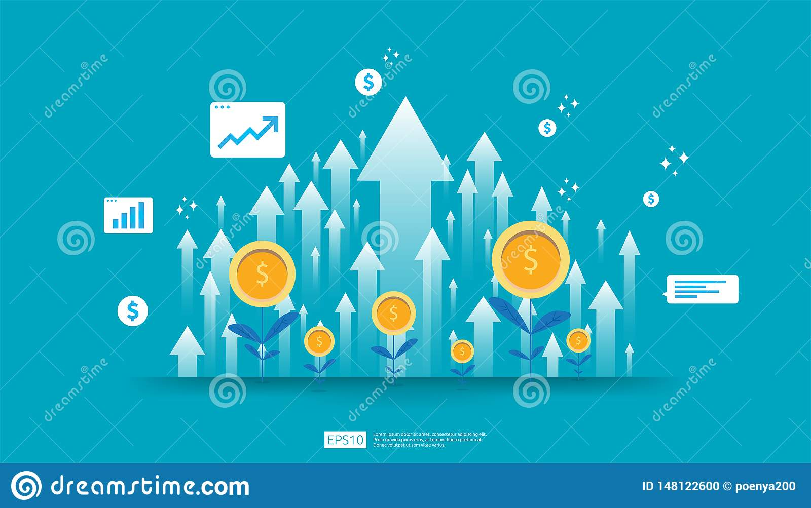 Return on investment ROI, profit opportunity concept. business growth arrows to success. arrow with dollar plant coins, graph and