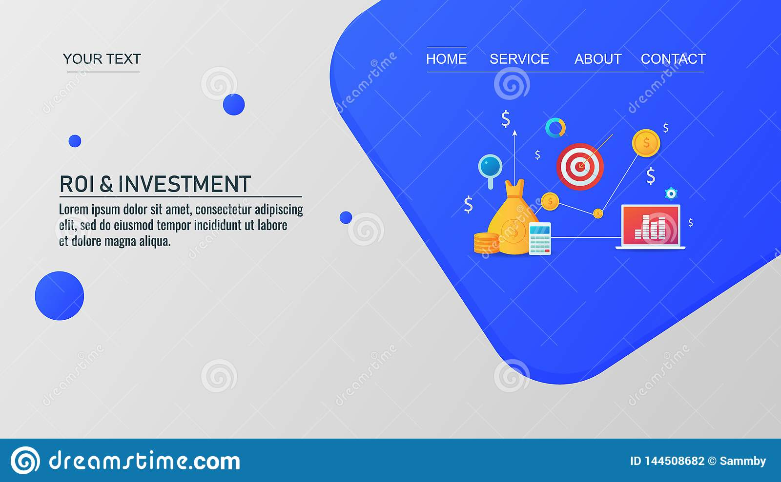 Return On Investment Target Market Business Profit And Revenue Financial Concept Vector Banner Stock Vector Illustration Of Concept Successful 144508682